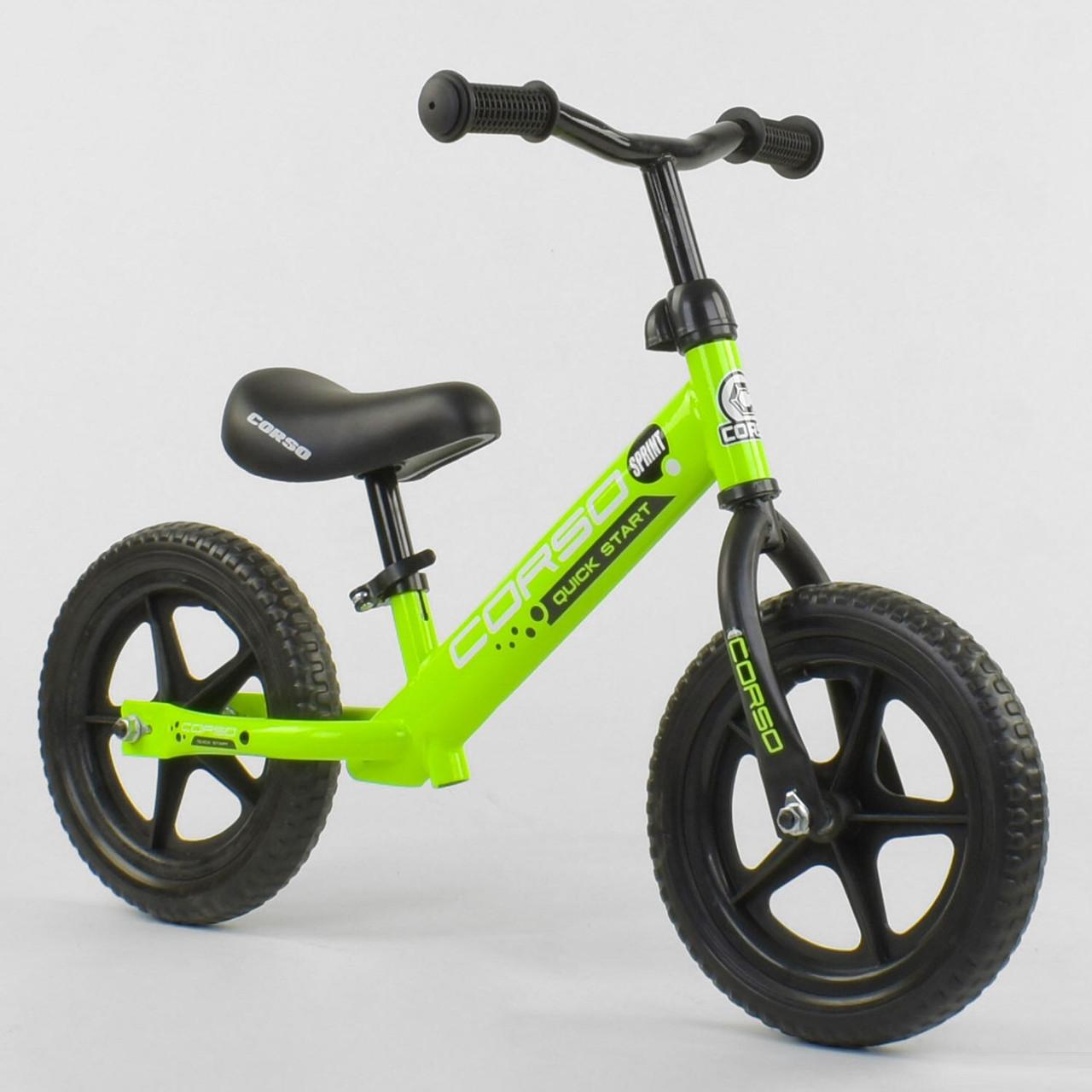 """Велобіг від Corso 19005, сталева рама, колесо 12"""" EVA (піна) салатовий"""
