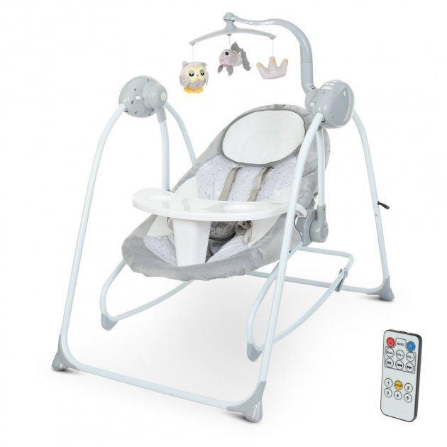 Детское кресло-качалка, шезлонг-качели 2 в 1 с таймером EL CAMINO ME 1076 EMMA Gray Bear (цвет серый)