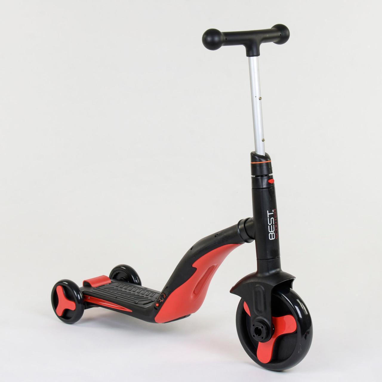 Дитячий самокат-велобіг від-велосипед 3 в 1 JT 28288 зі світловими і звуковими ефектами (8 пісень), червоний