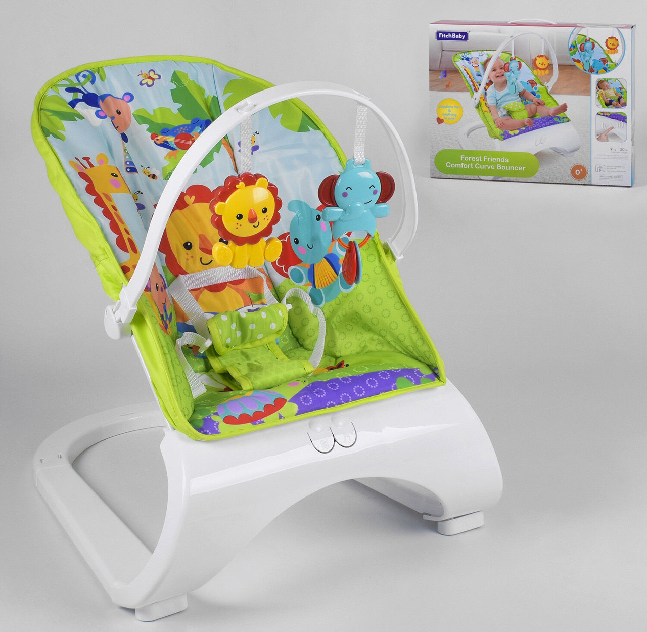 Детская качалка шезлонг с вибрацией и мелодией для ребенка 88929 (0-18 кг) Лев и слоник