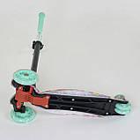 Детский самокат трехколесный для девочек Best Scooter Maxi А 25600 /779-1343 со светящимися колесами, фото 4