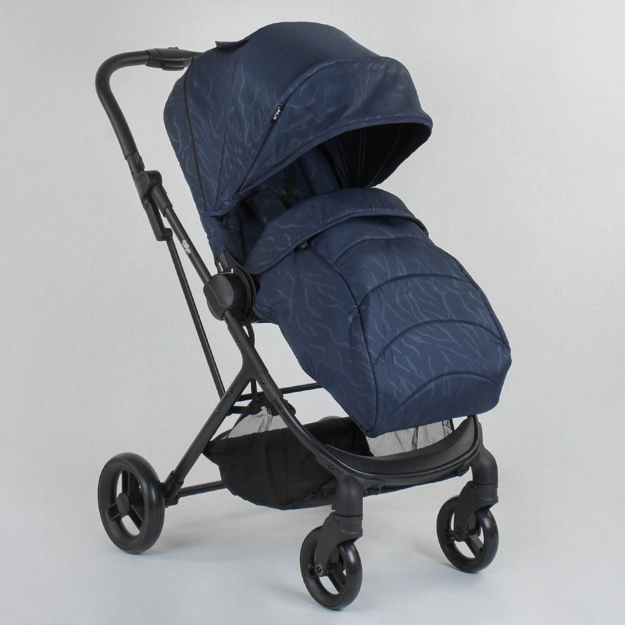 Прогулочная детская коляска со съемным сиденьем и чехлом на ножки JOY Liliya 66916 Синий, футкавер