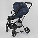 Прогулочная детская коляска со съемным сиденьем и чехлом на ножки JOY Liliya 66916 Синий, футкавер, фото 3