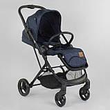 Прогулочная детская коляска со съемным сиденьем и чехлом на ножки JOY Liliya 66916 Синий, футкавер, фото 4