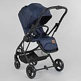 Прогулочная детская коляска со съемным сиденьем и чехлом на ножки JOY Liliya 66916 Синий, футкавер, фото 5