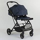 Прогулочная детская коляска со съемным сиденьем и чехлом на ножки JOY Liliya 66916 Синий, футкавер, фото 6