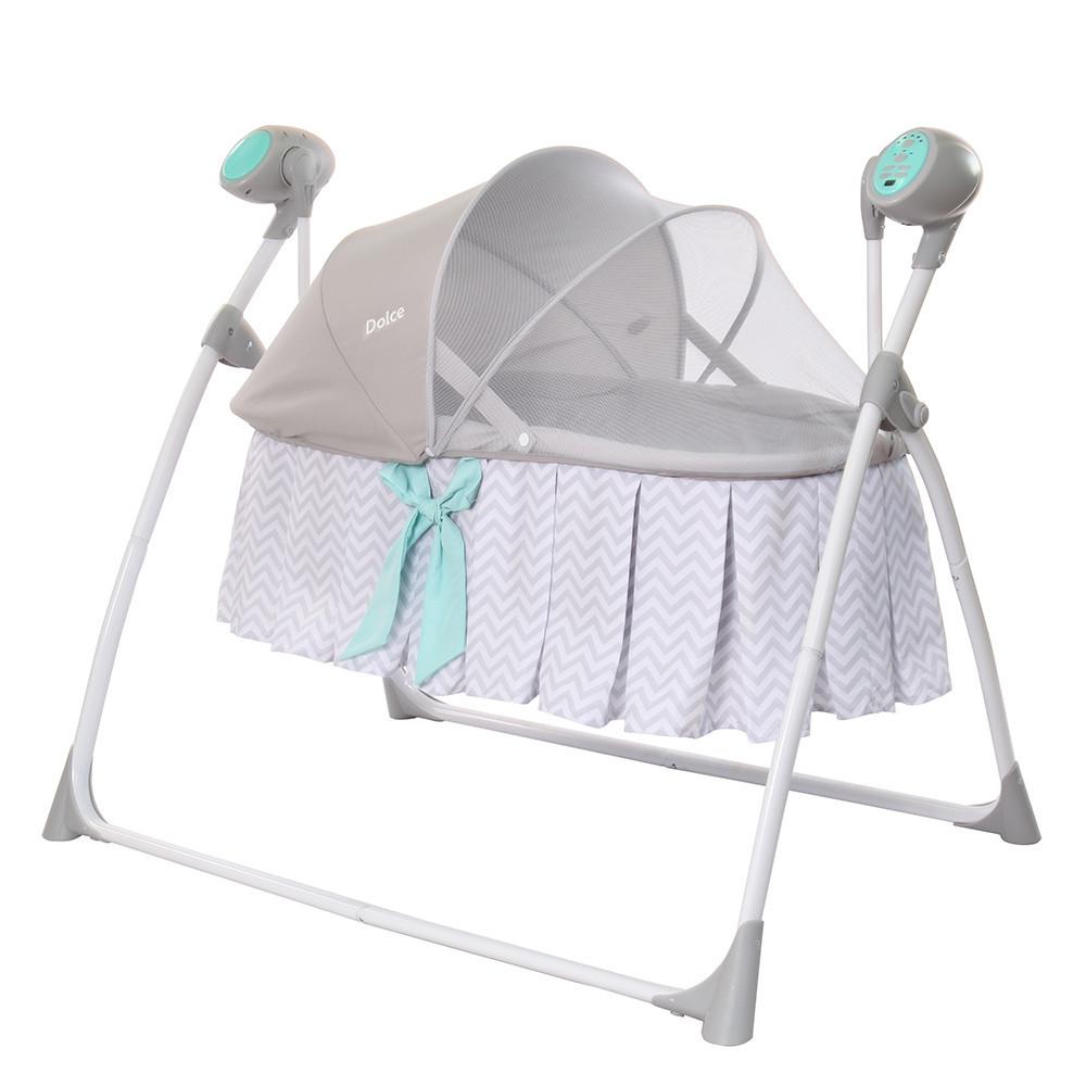 Дитячі люлька-гойдалки з подушкою і пультом управління CARRELLO Dolce CRL-7501 Line Grey
