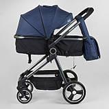 Коляска детская трансформер JOY Naomi 62763 Синий, сумка, футкавер, фото 3