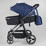 Коляска детская трансформер JOY Naomi 62763 Синий, сумка, футкавер, фото 4