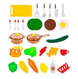 Детская игровая двухсторонняя кухня с набором посуды Happy Little Chef 768A, 83 см, свет-звук, течет вода, фото 2