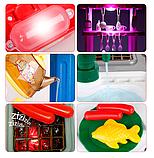 Детская игровая двухсторонняя кухня с набором посуды Happy Little Chef 768A, 83 см, свет-звук, течет вода, фото 4