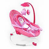 Детская качалка шезлонг для малыша BT-BB-0002 PINK с ремнями для переноски и съемным мобилем, розовый, фото 2