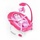 Детская качалка шезлонг для малыша BT-BB-0002 PINK с ремнями для переноски и съемным мобилем, розовый, фото 3