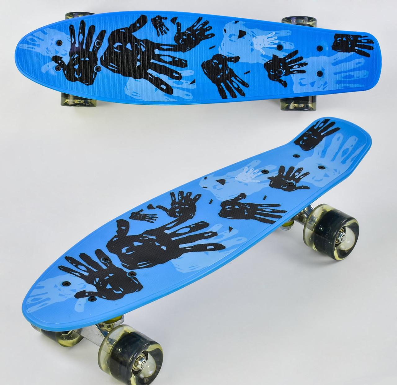 Скейт Best Board Р 10960 колеса з підсвічуванням, дошка 55 см навантаження до 80 кг, блакитний