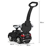Дитяча каталка-толокар з батьківською ручкою Bambi Mercedes-AMG M 3186L-2 Чорний, шкіряне сидіння, MP3, фото 7