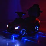Дитяча каталка-толокар з батьківською ручкою Bambi Mercedes-AMG M 3186L-2 Чорний, шкіряне сидіння, MP3, фото 8