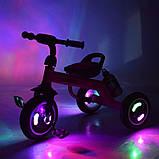 Трехколесный велосипед для мальчика с колесами которые светятся «TURBOTRIKE» M 3648-M-1, (цвет Голубой), фото 3