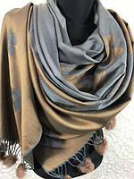 """Женские двухсторонние палантины с мехом 190х70 см """"Оттенок серого"""""""