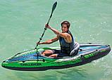 Одноместная надувная байдарка (каяк) Intex 68305 Challenger K1, 274х76х38 см, с веслами и насосом, фото 3
