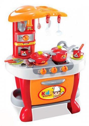 Игрушечная большая кухня для девочки 008-801А с плитой, духовкой и посудой, со светом и звуком (Высота 73 см)