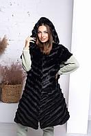 Женская меховая жилетка - безрукавка, длинная, большого размера. Норка. Меховой жилет Р с 42 по 76 черная
