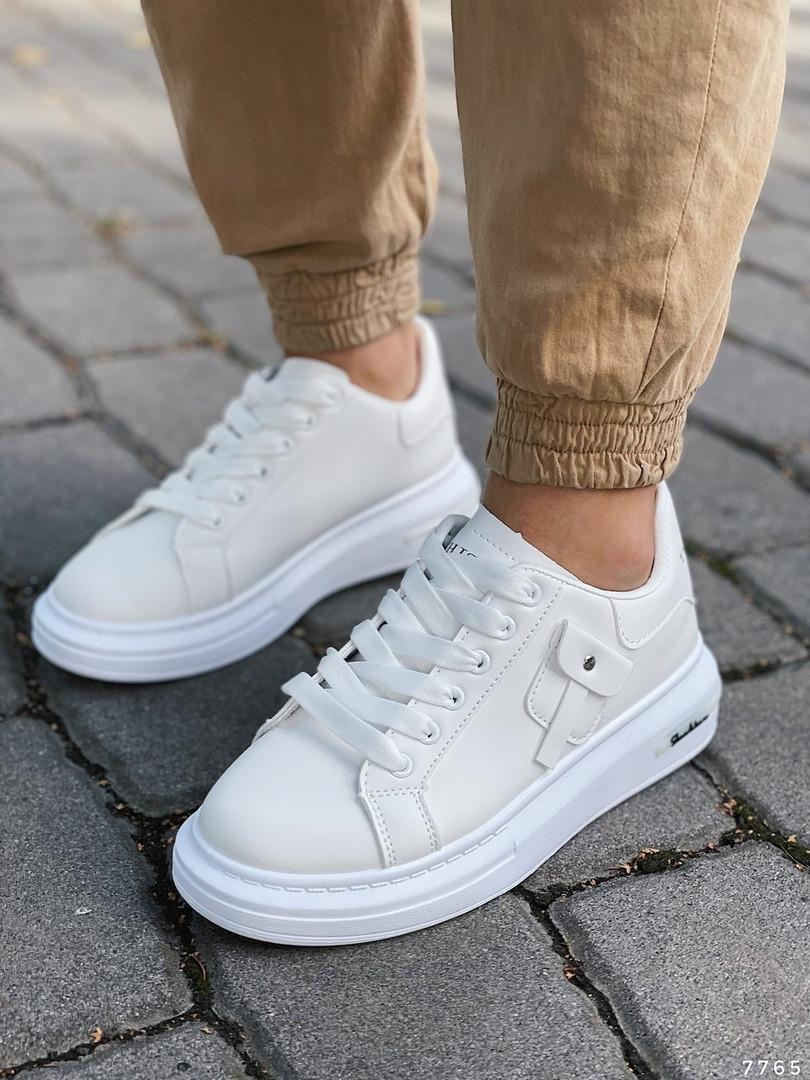 Белые кроссовки на платформе 7765 (ММ)