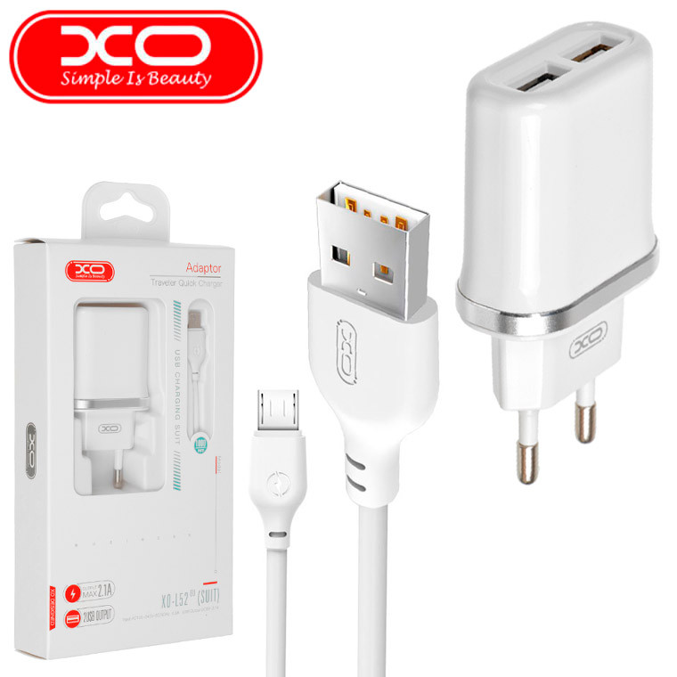 Сетевое зарядное устройство XO L52 2USB 2.1A micro-USB white