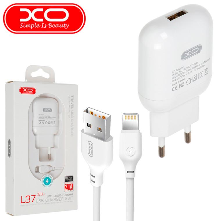 Мережевий зарядний пристрій XO L37 1USB 2.1 A white Lightning