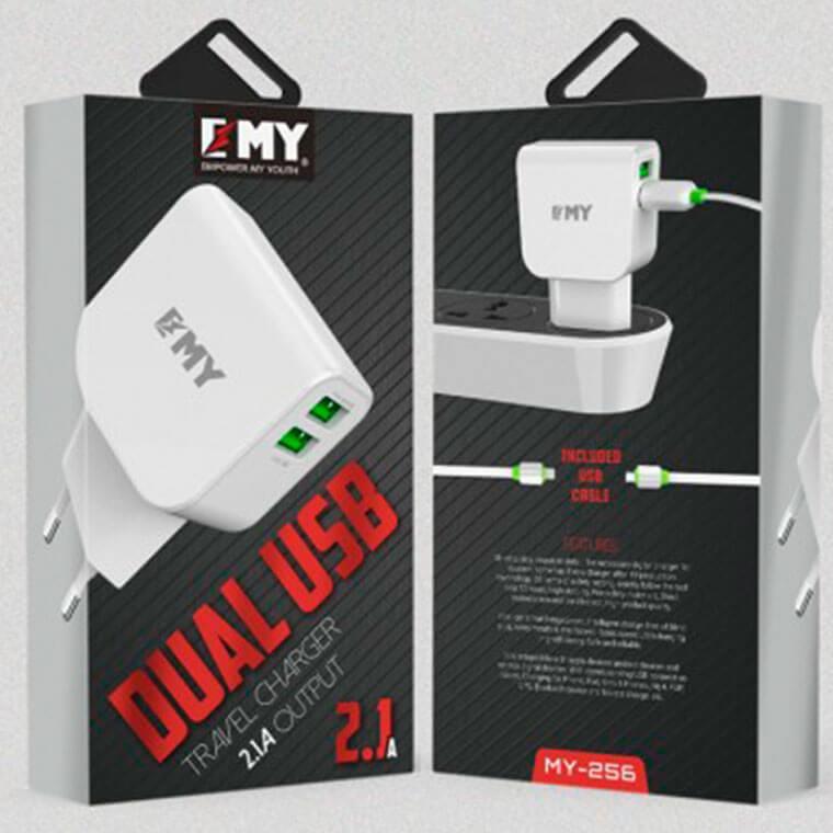 Сетевое зарядное устройство EMY MY-256 2USB 2.1A Lightning white