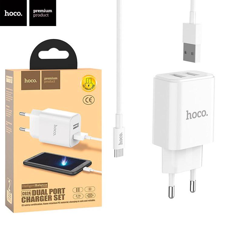Сетевое зарядное устройство Hoco C62A 2USB 2.1A micro-USB white