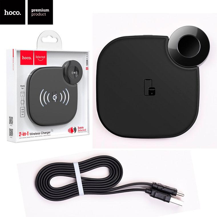 Беспроводное зарядное устройство Hoco S5 2in1 black