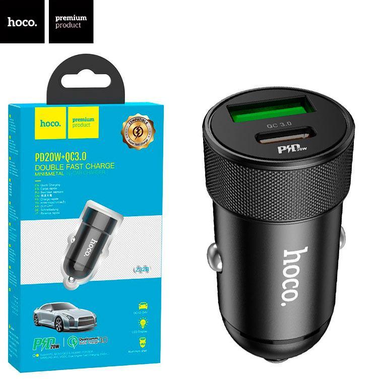 Автомобільний зарядний пристрій Hoco Z32B PD+QC3.0 1USB 18W 4.5 A black