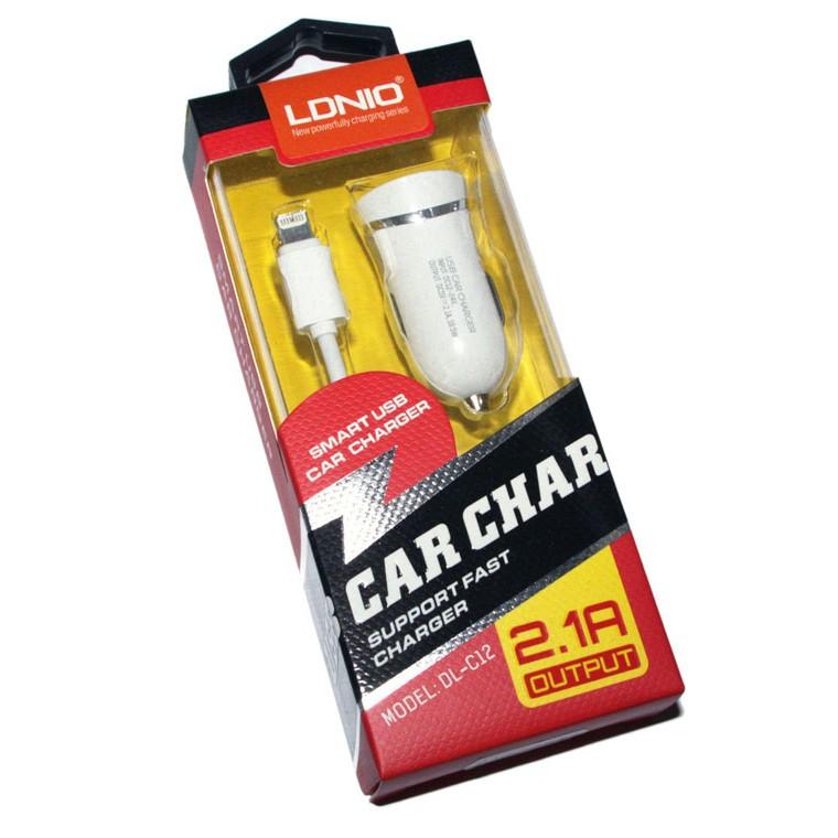 Автомобільний зарядний пристрій LDNIO DL-C12 1USB 2.1 A white Lightning