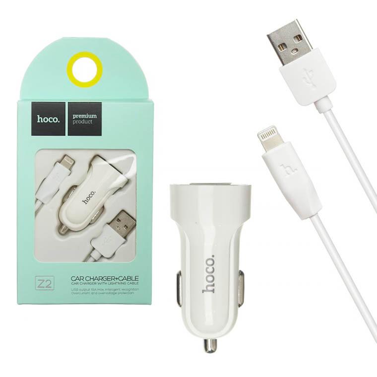 Автомобільний зарядний пристрій HOCO Z2 1 USB 1.5 A white Lightning
