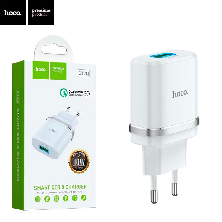 Мережевий зарядний пристрій Hoco C12Q Smart QC3.0 1USB 3A white