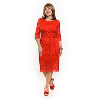 Гипюровое платье красного цвета большого размера.