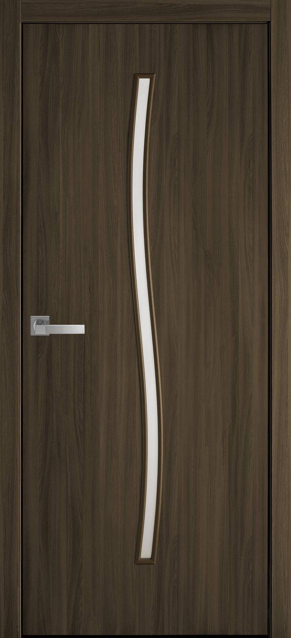 Дверне полотно МДФ Гармонія 3D горіх/ясен патина 80 п/о  (Вітрина)