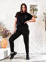 Спортивные брюки для женщин с поясом на резинке и стразами, фото 1