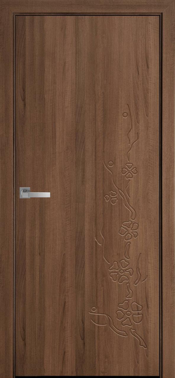 Дверне полотно ПВХ Сакура каштан/зол. вільха 80гл. (вітрина)