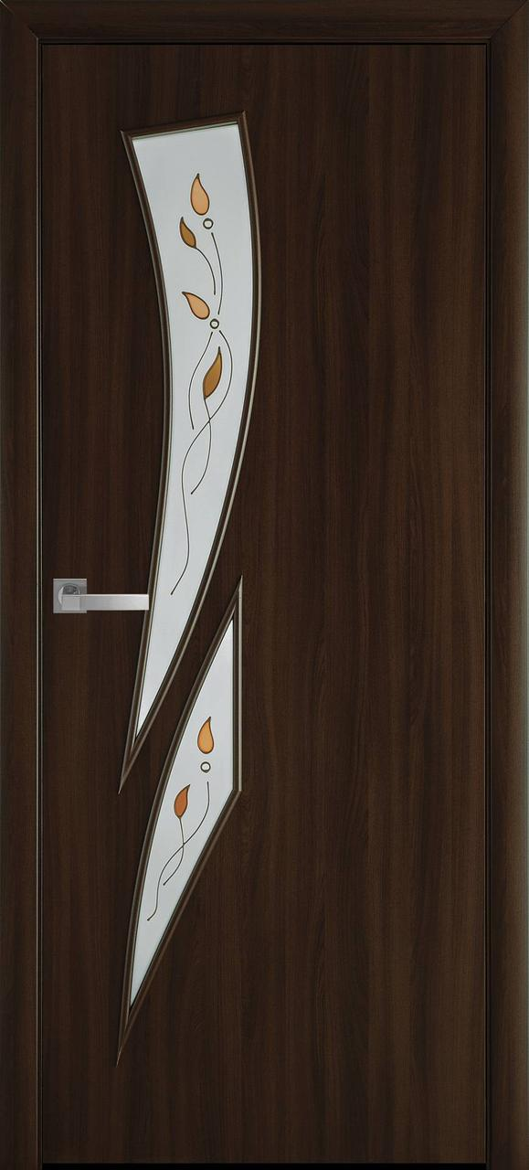 Дверне полотно МДФ Камея горіх 3D/вільха 3D 80п/о (R+3) (вітрина)