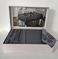 Скатерть Set Maison D'or 160х320+8psc Palmer Grey-Black