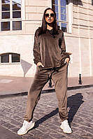 Стильный женский велюровый спортивный костюм оверсайз, фото 1