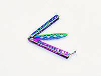 Подростковый детский безопасный тренировочный Mini- балисонг нож-бабочка для трюков и флиппинга радужный, 962