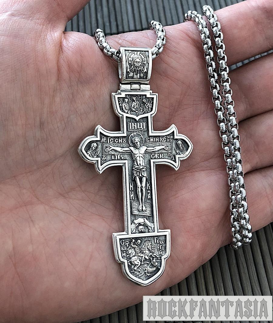 Серебряный мужской крестик с распятием православный нательный, крестик усика