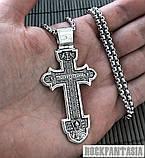 Срібний чоловічий хрестик з розп'яттям православний хрестик, хрестик усика, фото 2