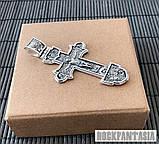 Серебряный мужской крестик с распятием православный нательный, крестик усика, фото 3