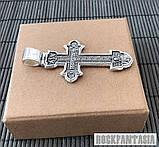 Серебряный мужской крестик с распятием православный нательный, крестик усика, фото 4