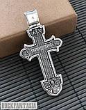Серебряный мужской крестик с распятием православный нательный, крестик усика, фото 5