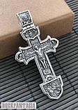 Серебряный мужской крестик с распятием православный нательный, крестик усика, фото 6