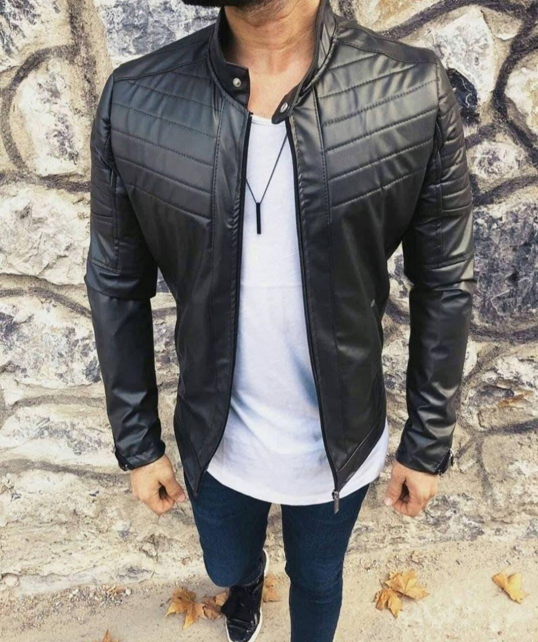 Куртка чоловіча чорна кожзам демісезонна, Туреччина О Д